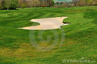 Bunker with sand on a golf course