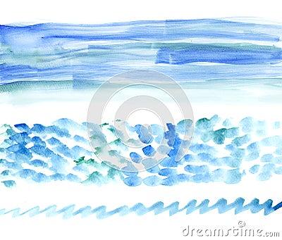 Bunners de watercolour de mer