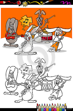 Bunnies band cartoon coloring book