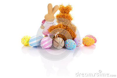 Easter eggs and bunnies in hug