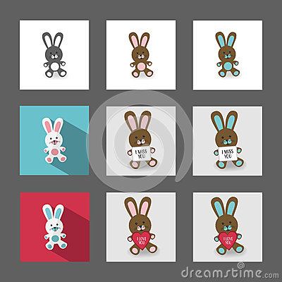 Bunnies with messages Stock Photo