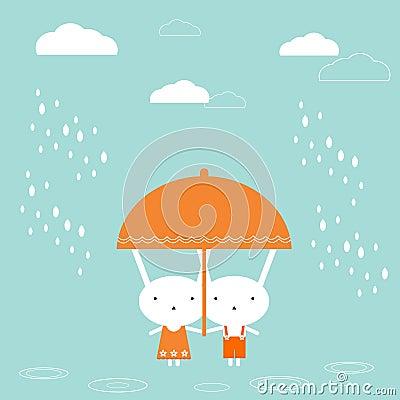Bunnies with umbrella