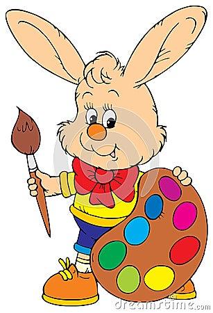 Bunny Artist (vector clip-art)