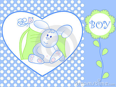 Bunny for baby boy - arrival announcement Vector Illustration