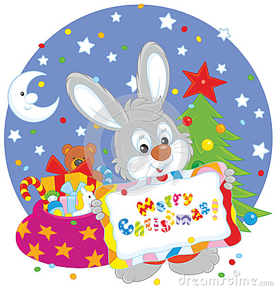 Bunny with christmas card stock vector image 61594349 for Small and friendly holidays