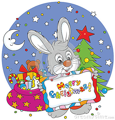 Bunny with christmas card for Small and friendly holidays