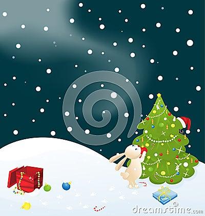 Bunny and Christmas tree