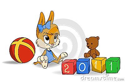 Bunny cub with bricks