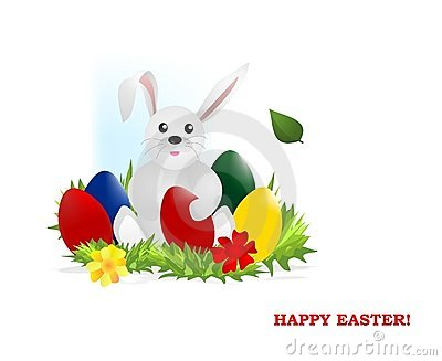 Bunny with easter eggs, cdr vector