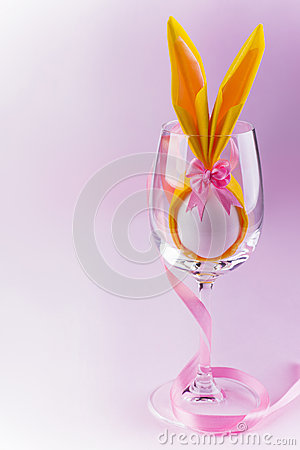 Free Bunny Egg For Easter In Wine Glass On Pink Background Stock Image - 40631111