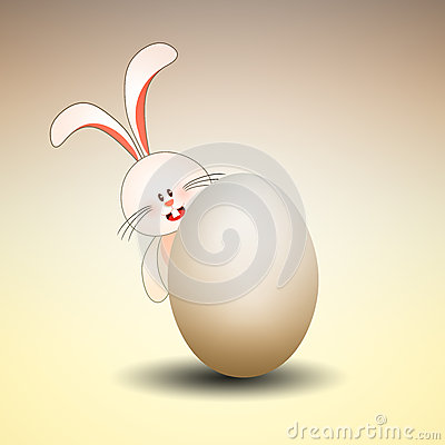 Bunny with egg for Happy Easter