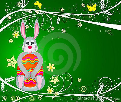 Bunny with egg - vector