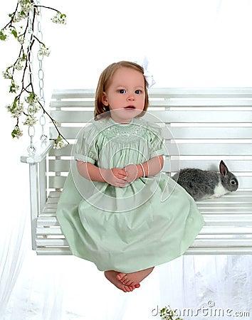 Bunny and Girl on Swing