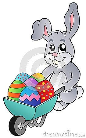 Free Bunny Holding Wheelbarrow With Eggs Royalty Free Stock Photography - 18977507