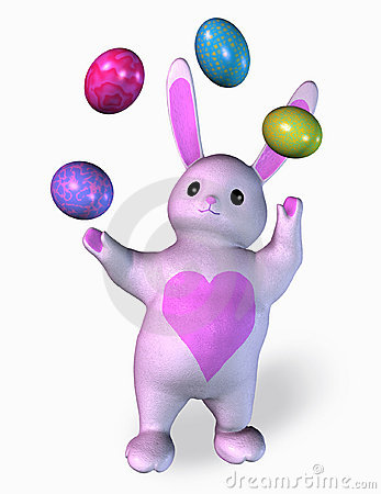 Bunny Juggling Easter Eggs - includes clipping path