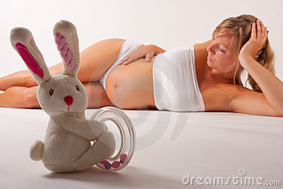 Bunny posing with a pregnant woman