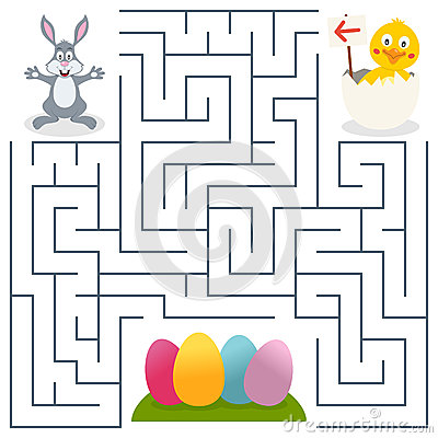 Free Bunny Rabbit & Easter Eggs Maze For Kids Stock Photography - 39533102