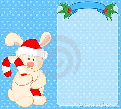 Bunny in the suit of Santa Claus