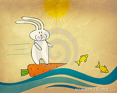 Bunny surfing on a carrot