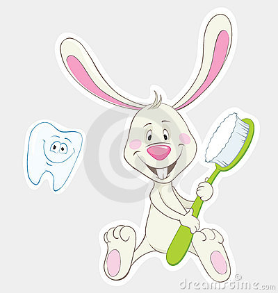 Bunny and toothbrush