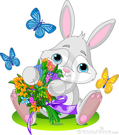 Free Bunny With Bouquet Royalty Free Stock Photos - 13307678
