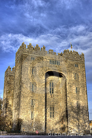 Bunratty castle with blue sky Ireland.