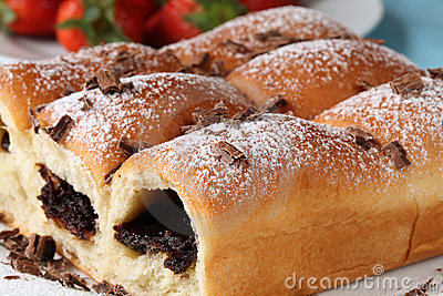 Buns with jam and chocolate
