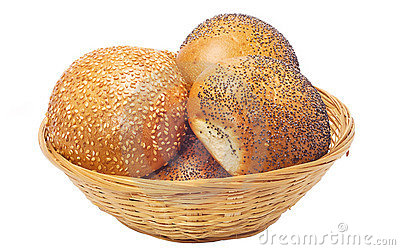 Buns with sesame and poppy seeds