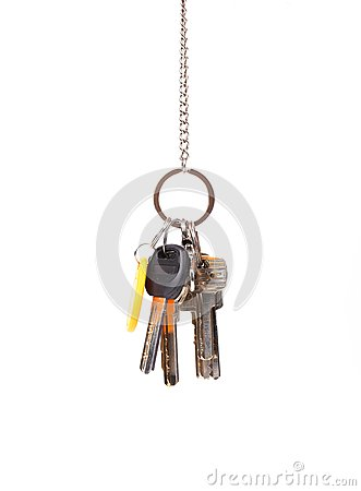 Bunsh of keys hanging on a chain.