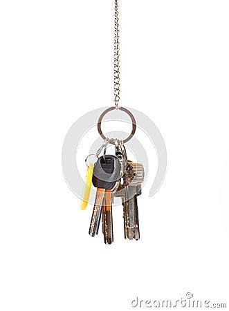 Bunsh of keys hanging on a chain.