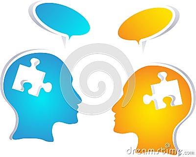 Bunte Konzeptleute mit Spracheblasen