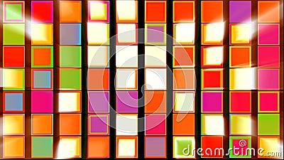Bunte Quadrate mit helle Strahln-abstraktem Hintergrund stock video