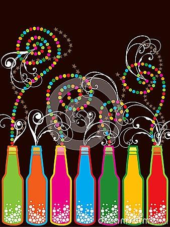 Bunte Retro- Flaschen des neuen Jahres des Knalls