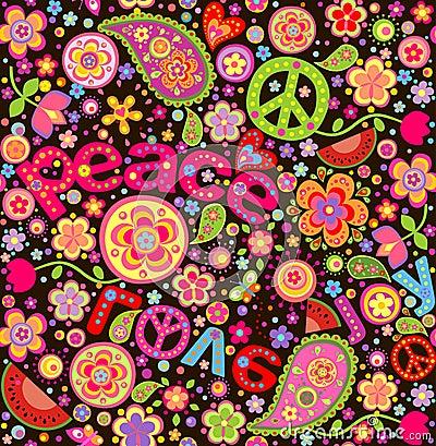 bunte tapete der hippie mit wassermelone vektor abbildung bild 52547719. Black Bedroom Furniture Sets. Home Design Ideas