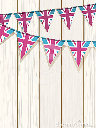 Bunting on a wooden background