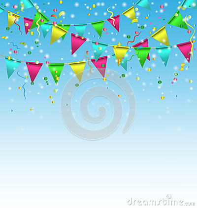 Free Buntings With Confetti On Sky Royalty Free Stock Images - 46693749