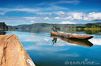 Bunyonyi lake in Uganda Editorial Stock Photo