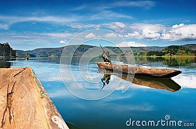 Bunyonyi lake in Uganda Editorial Stock Photo
