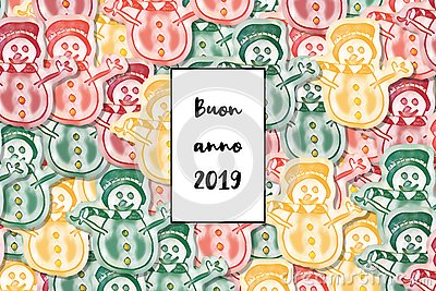 Buon anno 2019 card Happy New Year in italian with colored snowman as a background Stock Photo