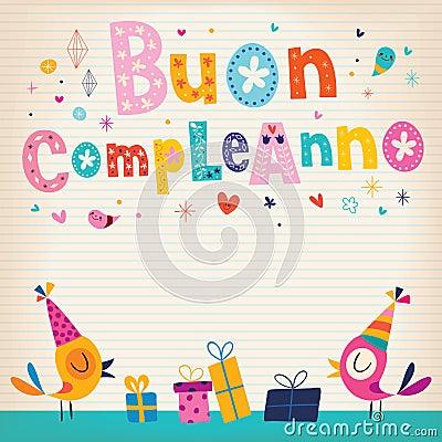 Buon Compleanno Happy Birthday In Italian Vector Image – Happy Birthday Greetings in Italian