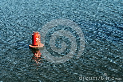 Buoy on the water surface for safe navigation