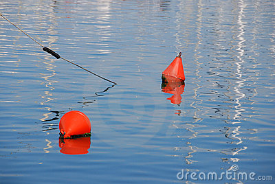 Buoys on calm sea