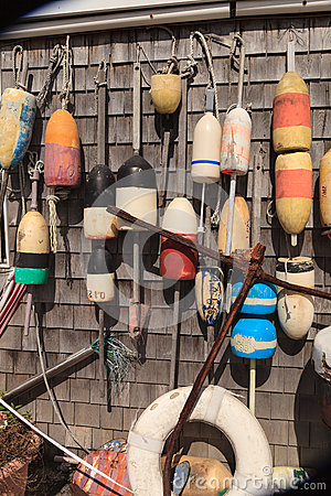 Free Buoys On A Cape Cod Fishing Shack Royalty Free Stock Images - 60181969