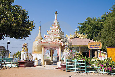 Bupaya pagoda on the shore of the Irrawaddy river