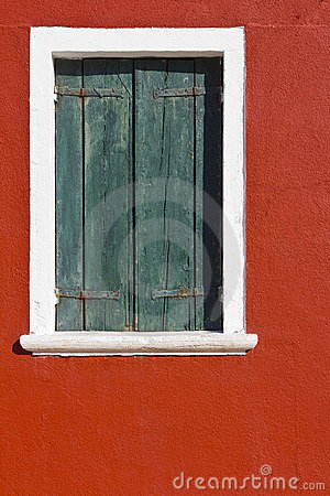 Burano, Venezia Italy. Window shutters, closed.