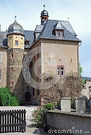 Burg Namedy a moated castle, Andernach, Germany