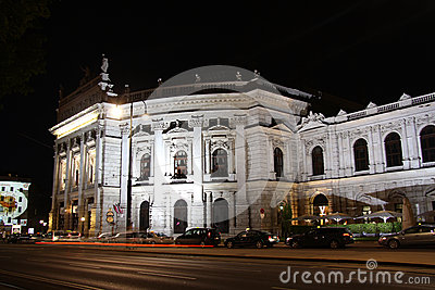 Burg theater in Vienna at night Editorial Image