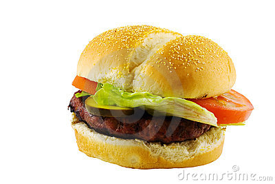 Beefburger with lettuce and tomato