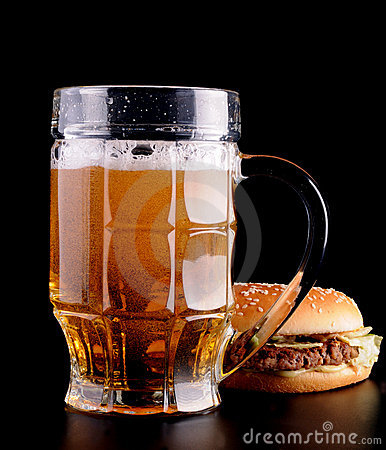 Free Burger And Glass Of Beer Royalty Free Stock Photography - 12464317