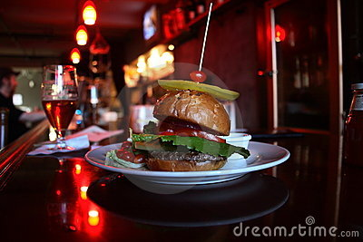 Burger in a bar